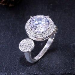 HUAMI regulowane modne pierścionki drążą srebrny kolorowy platerowany miedziany palec serdeczny dla kobiet biżuteria zaręczynowy ślub Bague
