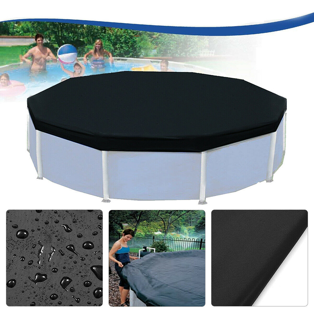 12ft Above Ground Strong Outdoor Swimming Pool Cover Frame Inflatable Accessories Round UV Resistant Garden Rainproof Protective