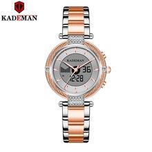 K9080 Kademan yeni kadın İzle LCD çift ekran zarif üst lüks moda su geçirmez kadın kuvars kol saati Relogio Feminno