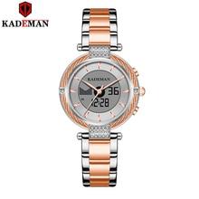 Новые женские часы K9080 Kademan с двойным жк дисплеем, элегантные Топ, роскошные модные водонепроницаемые женские кварцевые наручные часы, женские часы