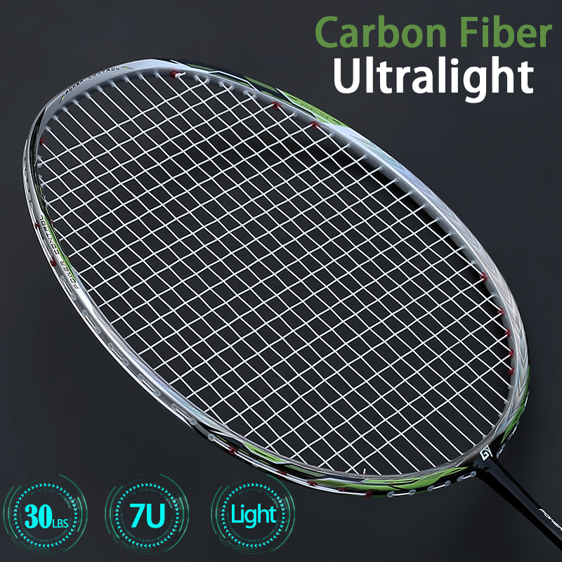 67G Ultralight Carbon Badminton Racket 7U Offesive Type Professional Racquet Ultra Light Rackets Strings Bags Speed Sports Gym