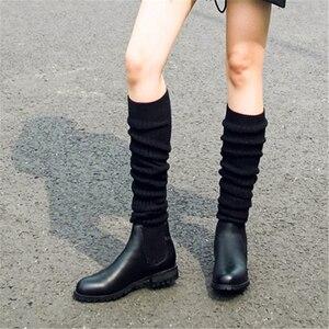 Image 5 - Mode Frauen Über Die Knie Elastische Stiefel Kid Suede Slip Auf Platz Heels Wasserdichte Winter Damen Motorrad Schuhe größe 34 40