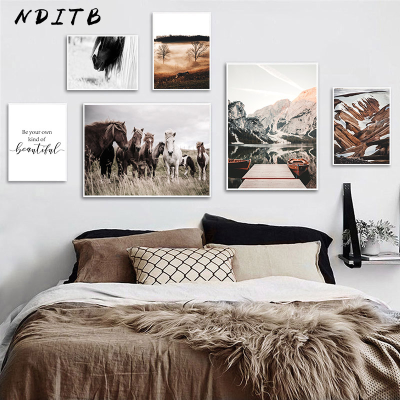 Horse Mountain Nature Landscape Poster Nordic Style Print Canvas Art Painting Scandinavian Wall Picture For Bedroom Decoration