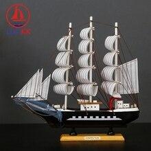 LUCKK 33cm Mediterranean Style Wooden Sailing Boat Handmade Ship Model Home Decor Room Nautical Wood Crafts Kids Birthday Gifts