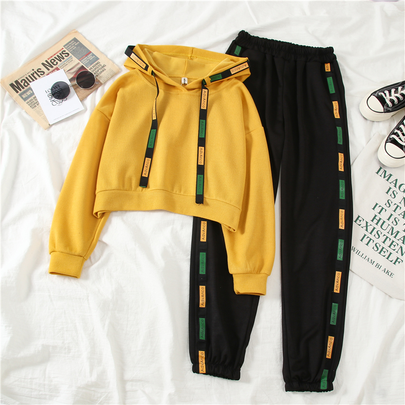 Mooirue Autumn Women Sports 2 Piece Sets Casual Streetwear Short Hooded Pullover Elastic Letter Printed Trousers Women Tracksuit