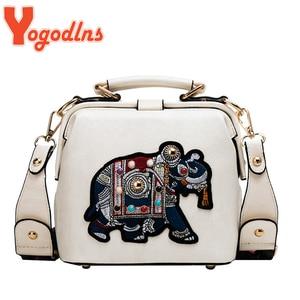 Yogodlns Luxury Shoulder Bag For Women PU Leather Crossbody Bag Vintage Embroidery Elephant Handbag Designer Lady Purse Bolsas