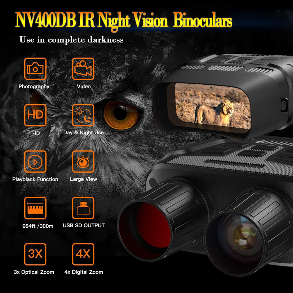 Tools : NV400DB HD Digital Night Vision Binoculars with LCD Screen Infrared  IR  Camera Take Photo Video from 300m Night Hunting Goggles
