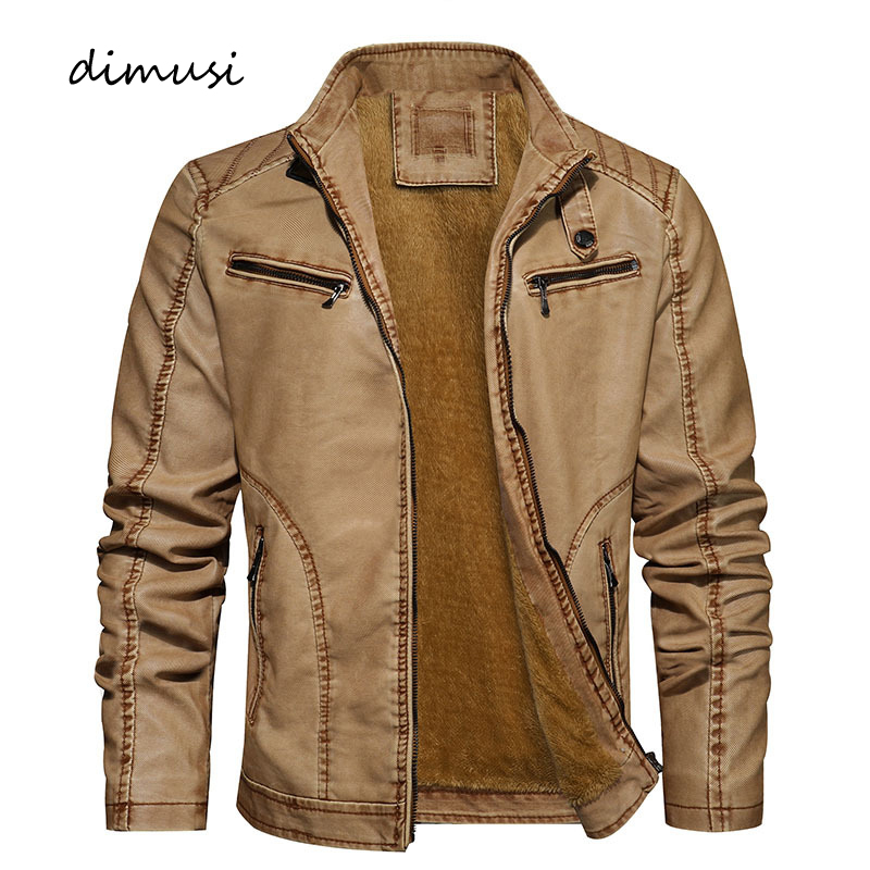 DIMUSI Men's PU Jacket Leather Coats Winter Casual Mens Warm Slim Fit Faux Leather Motorcycle Jackets Male Biker Coats Clothing