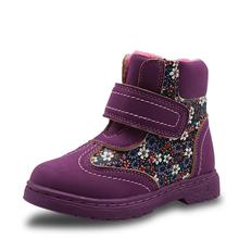 Winter Autumn Girls Boots Floral Childrens Shoes New 2017 Warm Short Plush Comfy Kids Pu Leather Martin Boots for Girls