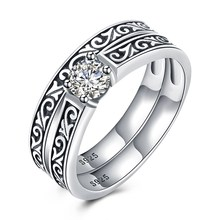 GOMAYA S925 Sterling Silver Retro Wind-set Drill Ring Vintage Anniversary Rock Punk Unisex Party Jewelry for Women and Men