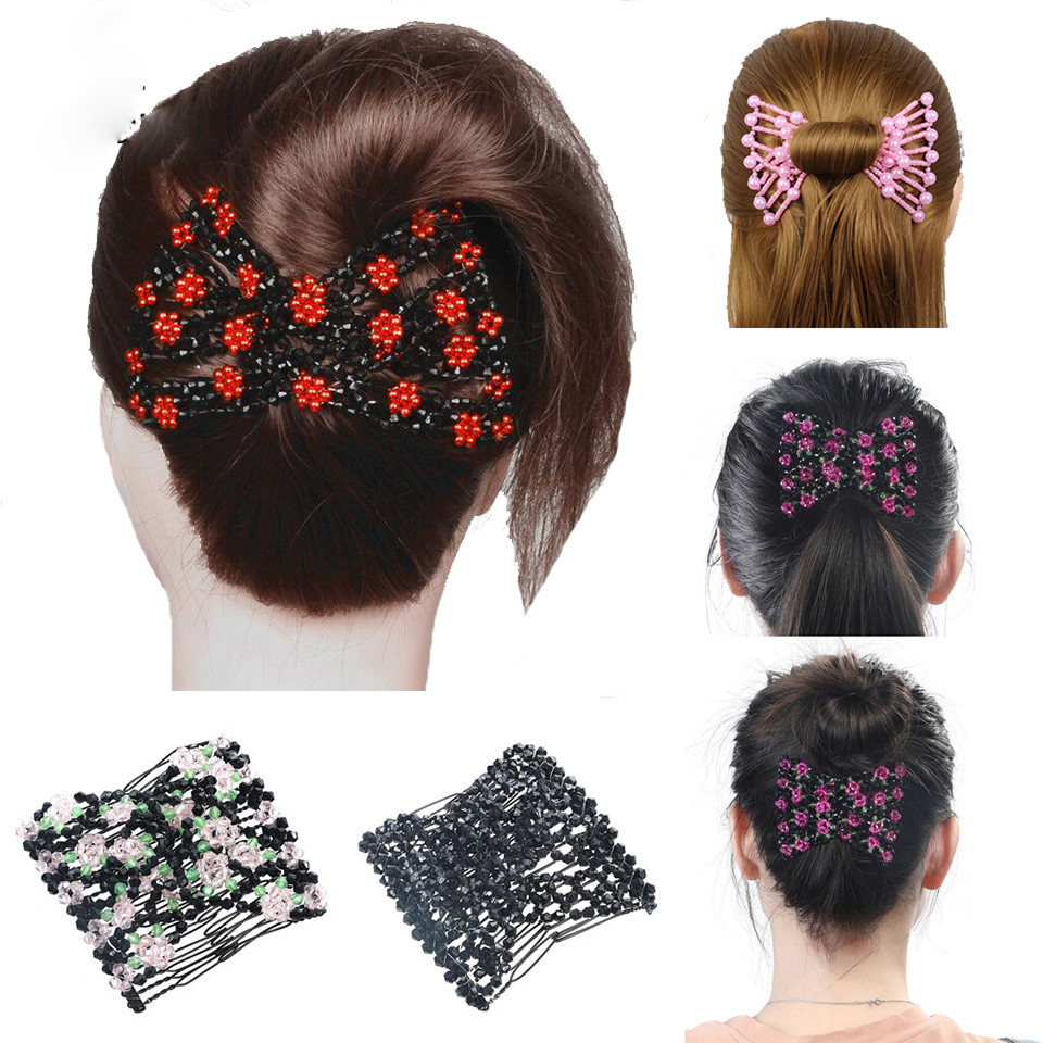 Haimeikang Hair Magic Comb Clip For Women Girls Beaded Flower Barrette Hairpin Elastic