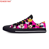 FDWERYNH Women's Flats Shoes New Mickey Women Print Top Mouse Lace Up Canvas Strap Ladies Flat Casual Women Shoes Comfortable