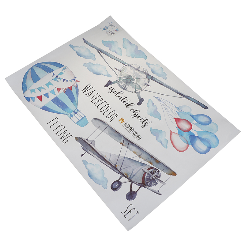 Watercolor Airplane Hot Air Balloon Wall Sticker Kids Baby Rooms Home Decoration PVC Mural Decals Nursery Stickers Wallpaper image