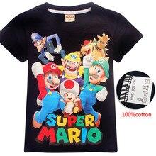 Рубашка с изображением супер Марио, История игрушек мультфильма футболка для маленьких мальчиков и девочек детская хлопковая футболка одежда для детей, Рождественская одежда