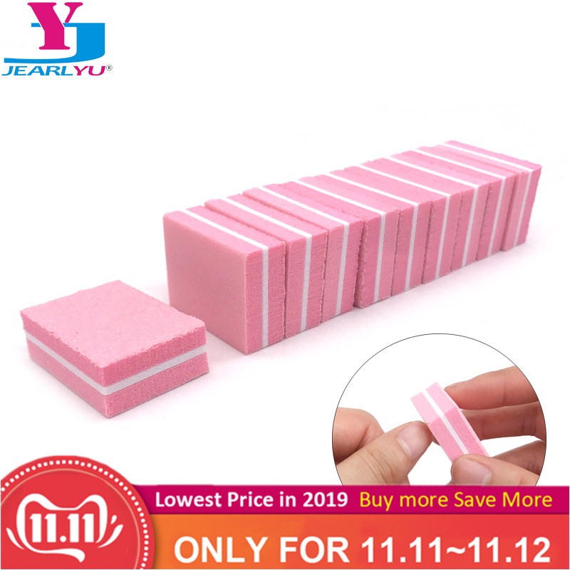 20pcs/lot Pink Disposable Sponge Nail File Sandpaper Nail Polishing Buffing Blocks Pedicure Manicure Nail Accessories Tools Set