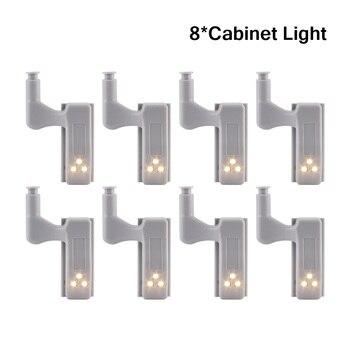 8Pcs/lot LED Smart Touch Induction Cabinet Light Cupboard Inner Hinge Lamp Sensor Light Night Light for Closet Wardrobe