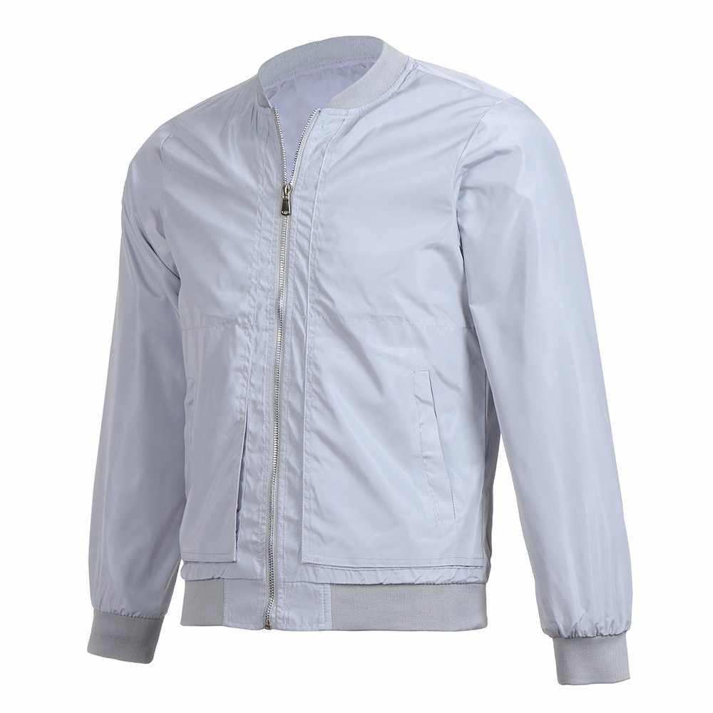 Erkek Ceket Kış sıcak Palto Dış Giyim Ince Uzun Kollu Fermuar Bluz Tops Rahat Rüzgar Geçirmez Moda Spor Ceket Ceket #45
