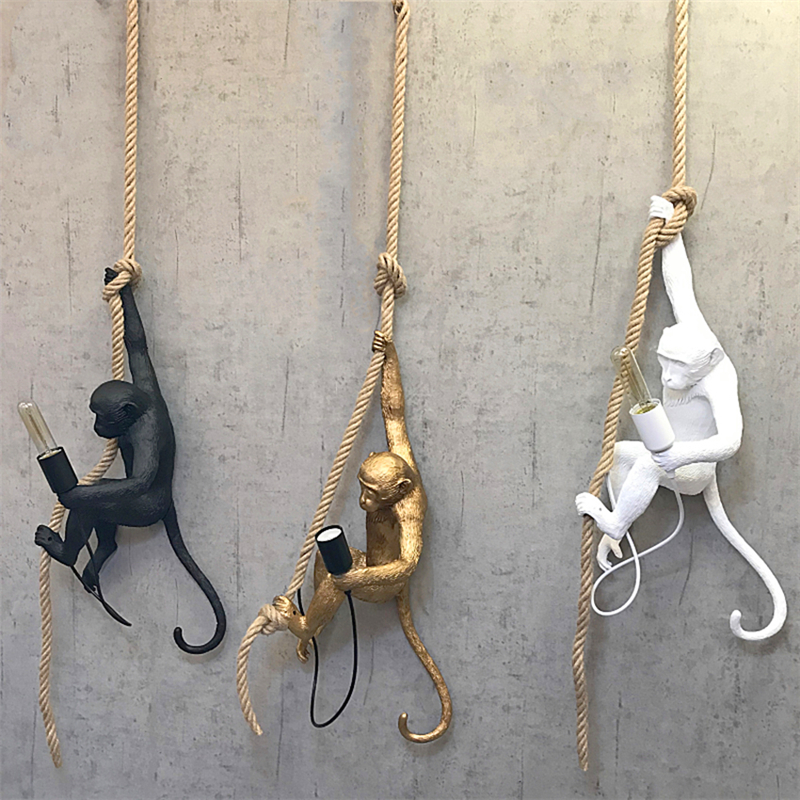 Nordic Resin Monkey Lamp Led Pendant Lights Lighting Living Room Restaurant Bedroom Luminaire Kitchen Fixtures European Shipment in Pendant Lights from Lights Lighting