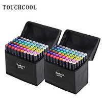 Touchcool Marker Pen Set 30/40/60/80/168 di Colore Marcatore Schizzo A Doppia Punta di Disegno di Arte penne pennello A Base di Alcool con 4 Regali