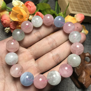 Image 4 - 14mm Natural Colorful Morganite Bracelet For Women Clear Round Beads Gemstone Love Stone Gemstone Bracelet Fashion Jewelry AAAAA