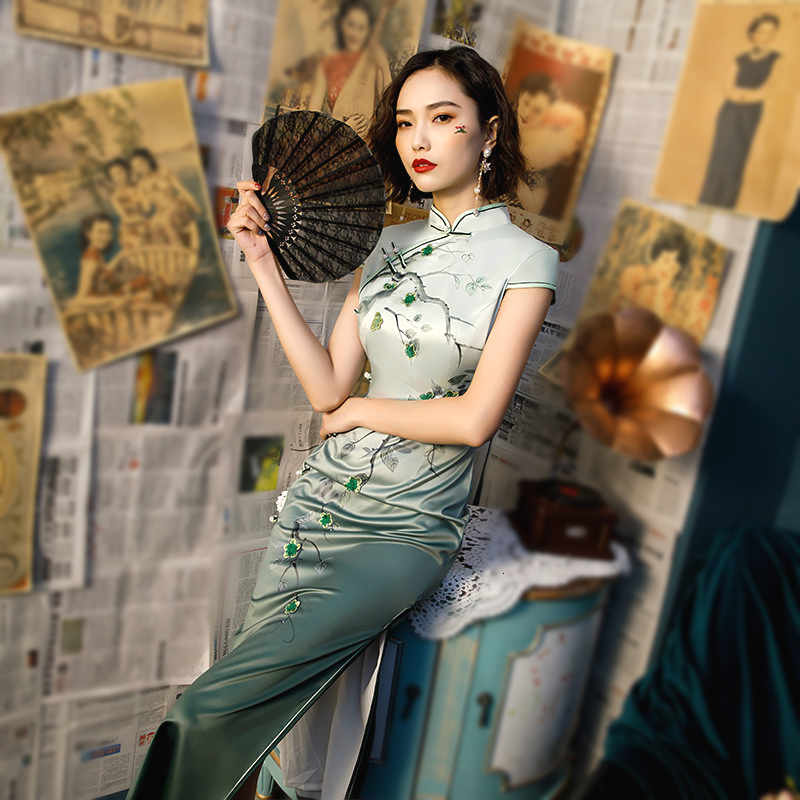 Sheng Coco Chinese Cheongsam Qipao Dresses New China Wind Gradient Long Cheongsam Chinese Dress Modern China Clothing Plus Size
