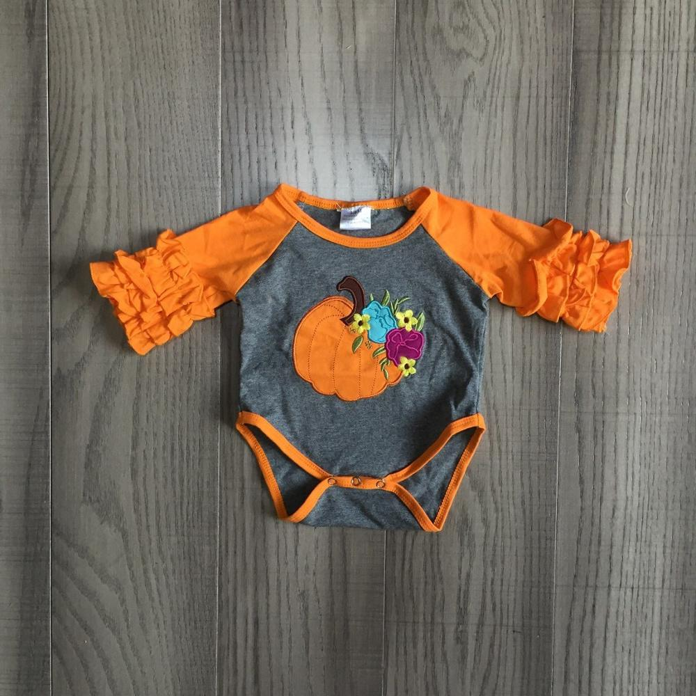 baby girls clothes baby fall   romper   infant toddler   romper   baby halloween   romper   with pumpkin print baby girls boutique   romper