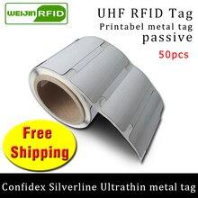 UHF RFID ультратонкие анти-металлические бирки линии серебрения confidex 915 м 868 м Impinj M4QT 50 шт. для печати ПЭТ пассивные RFID метки