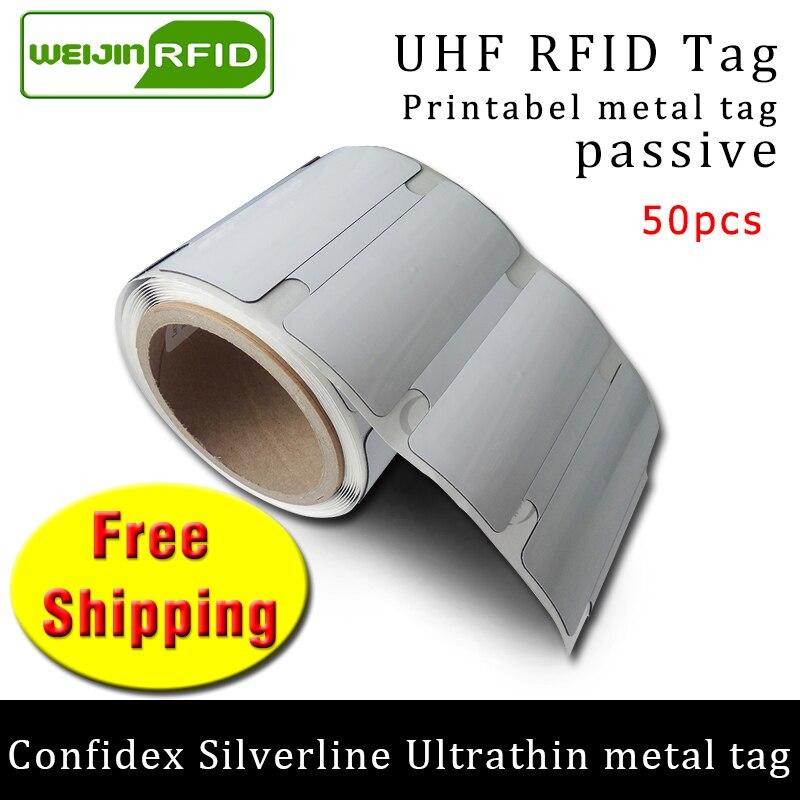 UHF RFID Ultrathin Anti-metal Tag Confidex Silverline 915m 868m Impinj M4QT 50pcs Free Shipping Printable PET Passive RFID Tags