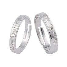 Forever Love Ring Set Couple Open Rings For Women Men Adjustable Simple Silver Eternity Engagement Heart Wedding Couple Rings Je цена в Москве и Питере