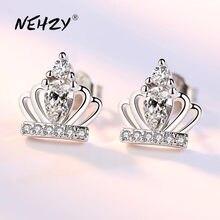 NEHZY-pendientes tipo botón de plata fina para mujer, joyería de alta calidad, corona Simple, pendientes de circonita de cristal superllamativas, 925