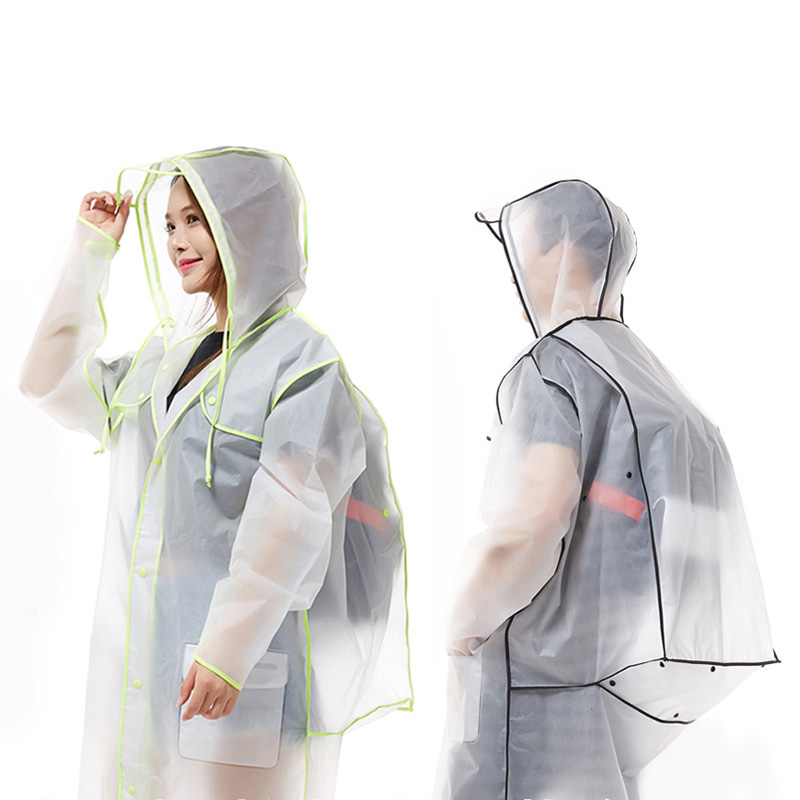 Transparent Raincoat With Backpack Waterproof Poncho Men Cover Rain Gear Clock Rain Coat Women Adult Hiking Long Rainwear