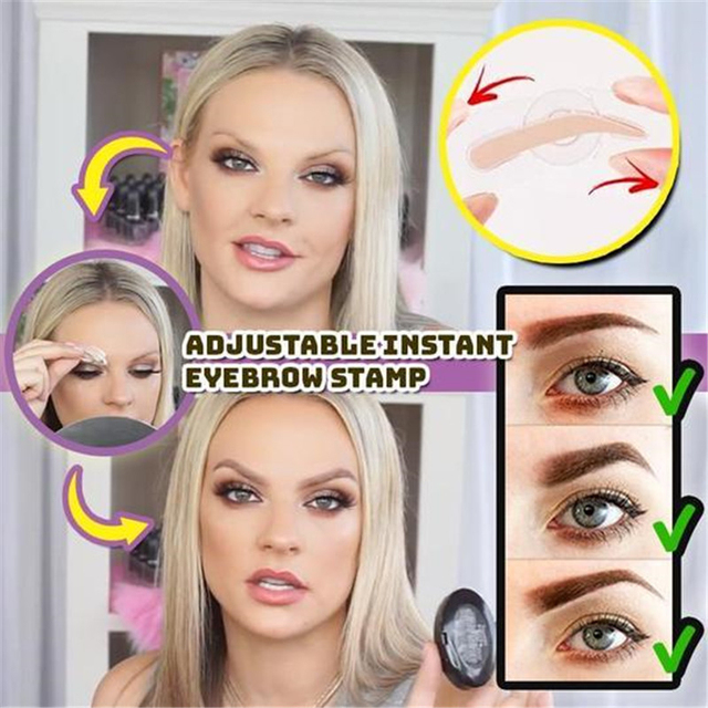NEW 3 Shapes Adjustable Eyebrow Stamp Soft Sponge Eyebrow Template Stamp Stencils Natural Lazy Quick Eye Brow Makeup Seal 3