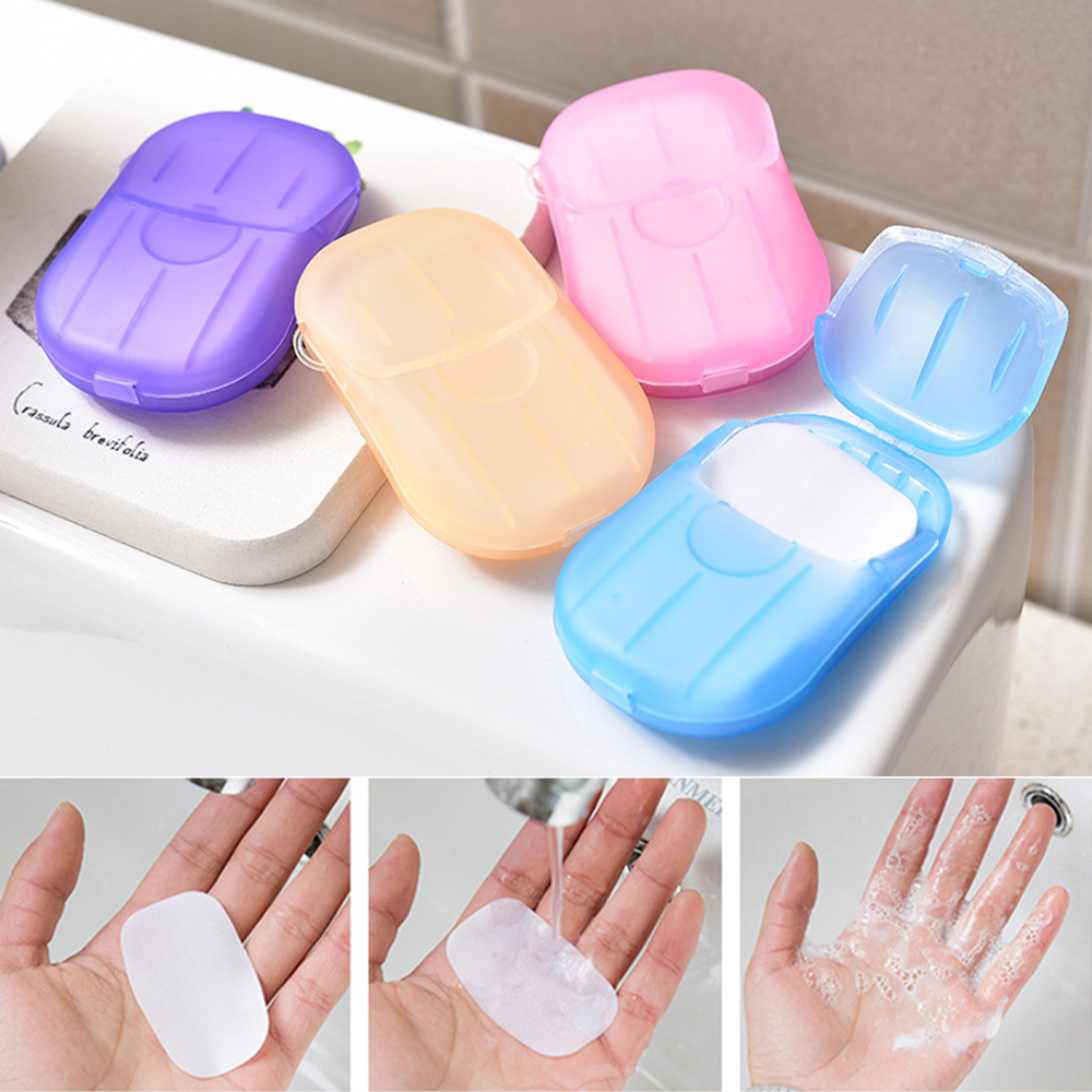20PCS Travel Soap Paper Washing Hand Bath Clean Scented Slice Sheets Disposable Boxe Soap Portable Mini Paper Soap