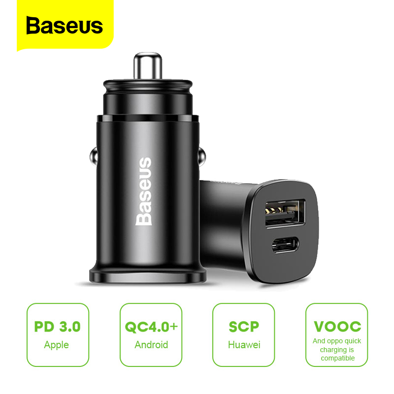 <font><b>Baseus</b></font> 30W Quick Charge 4.0 AFC SCP <font><b>Car</b></font> <font><b>Charger</b></font> For iPhone Samsung Huawei PPS Fast Charging USB PD Quick Charging <font><b>Car</b></font>-<font><b>Charger</b></font> image