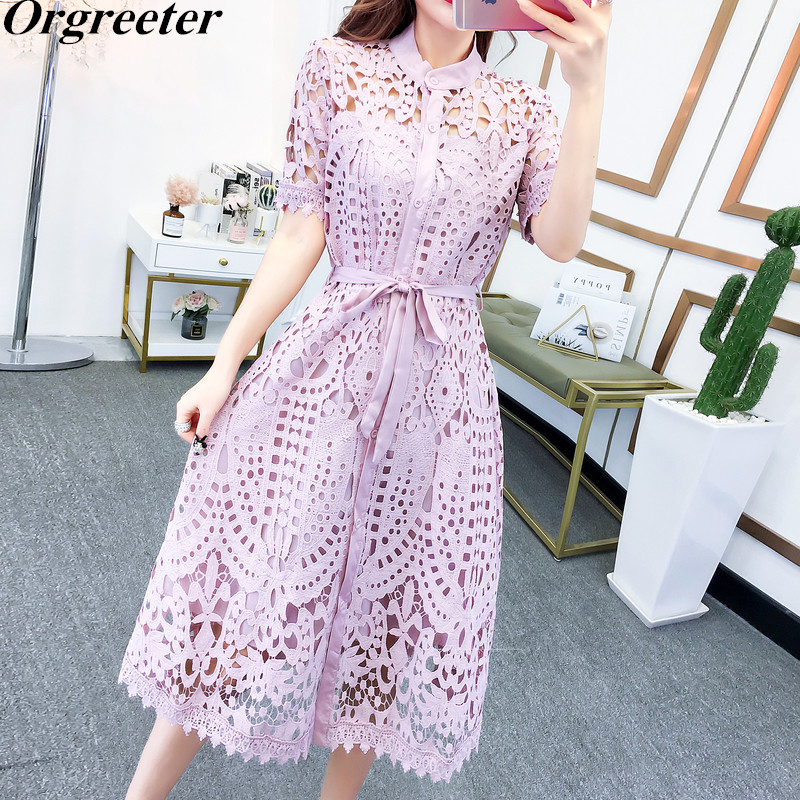 Women Elegant Office Lady Hollow Lace Dresses Summer New Solid O-neck Sashes Single-breasted Slim Lace Dress Female With Sling