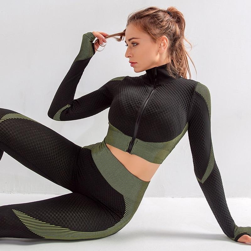 Women Gym Sets 2 Piece Long Sleeve Fitness Suit Sportswear Seamless Workout Gym Wear Set Woman Gym Clothing For Women Yoga Set