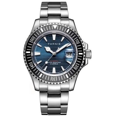 Relógio de Cristal 8215 à Prova Parnis Relógios Mecânicos Automáticos 21 Jewel Miyota Dwaterproof Água Safira Relógio Masculino 2020 Homem Presente Men