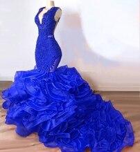 Ensotek Gorgeous Royal Blue Mermaid long Organza Prom Dress 2019 Lace Appliques Ruffles Evening Party Gowns Vestidos de Festa