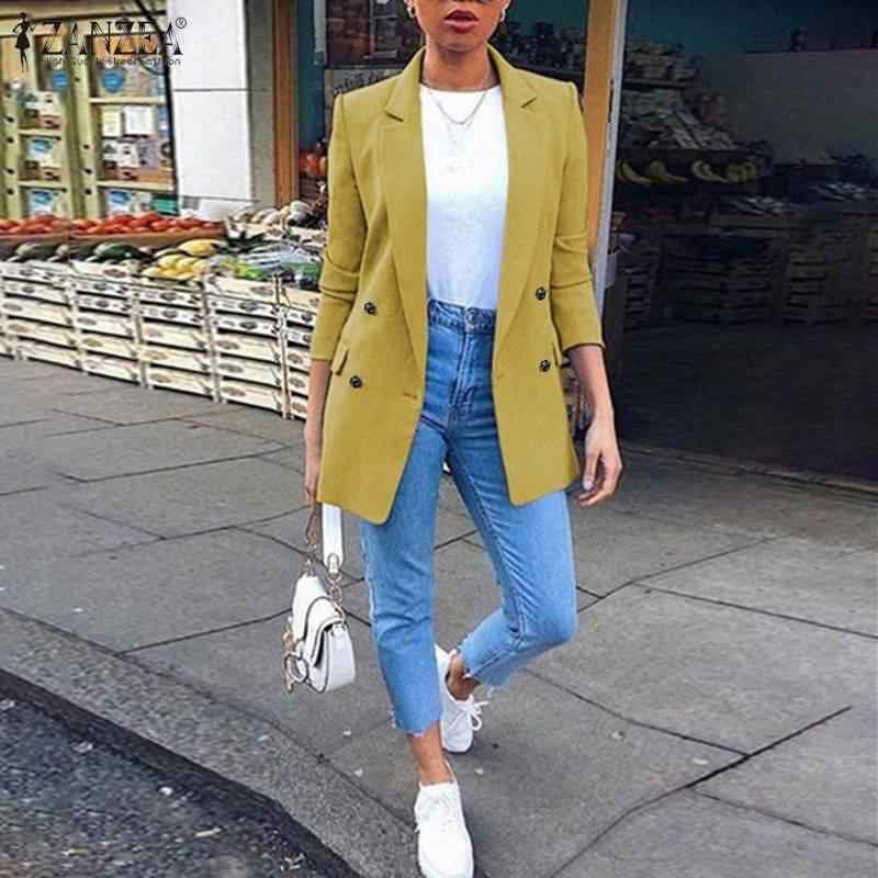 Office Lady Work Blazers ZANZEA Women Casual Lapel Neck Solid Pockets Coats Long Sleeve Overcoat Chaquetas Mujer Solid Suits Top