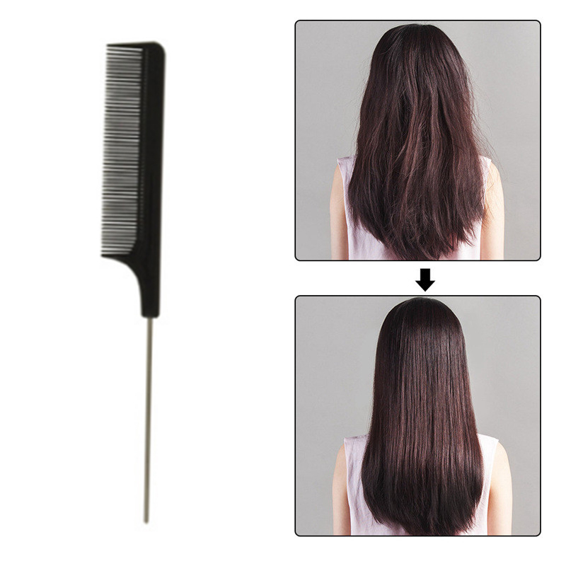21.7cm Length Fashion Black Tooth Fine Comb High Quality Metal Broaches Anti-static Hairbrush Pro Salon Hair Style Tail Rat Comb