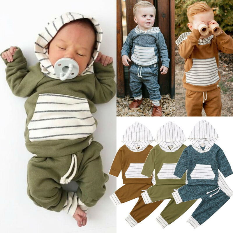 Baby Kids Boys Girls Autumn Hooded Stripe T-shirt Tops+Pants Outfits Clothes Set