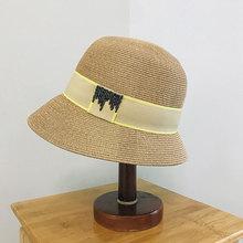 French Elegant Summer Women's Fashion Fine Straw Hats For Women Bucket Cap Fisherman's Hat Retro Knitted Beach Basin Bucket Caps