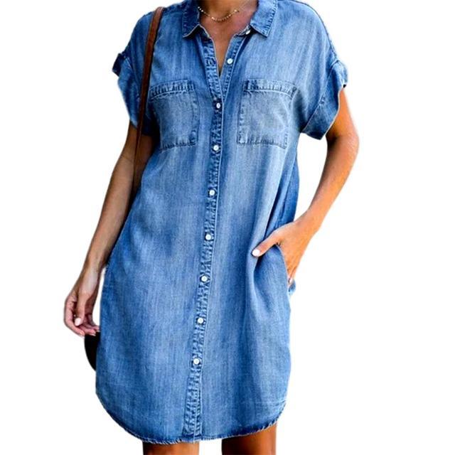 Women's Summer Fashion Solid Turn Down Neck Blue Jeans Denim Shirt Dress Short Sleeve Pockets Single-breasted Women's Jean Dress 2