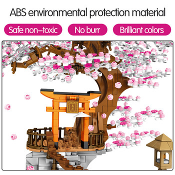 SEMBO City Street View Idea Sakura Inari Shrine Bricks Friends Cherry Blossom Technic Creator House Tree Building Blocks Toys 4