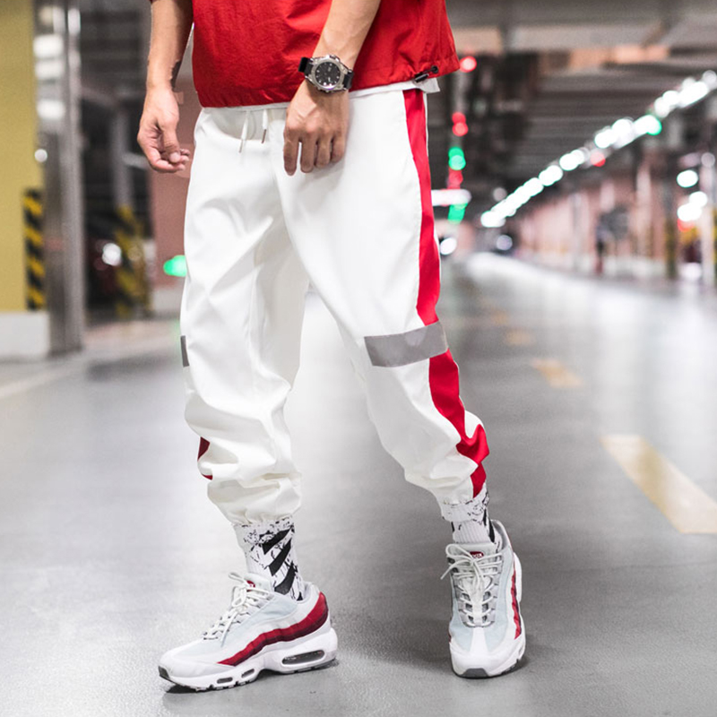 Men's Side Stripe Track Jogger Pants Men Reflective Label Track Harem Pants Homme Streetwear Male Hip Hop Pants Casual Trousers