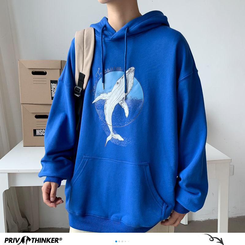 Privathinker Whale Printed Men Hoodies 2020 Autumn Warm Korean Loose Men's Hooded Sweatshirts Man Streetwear Casual Pullovers