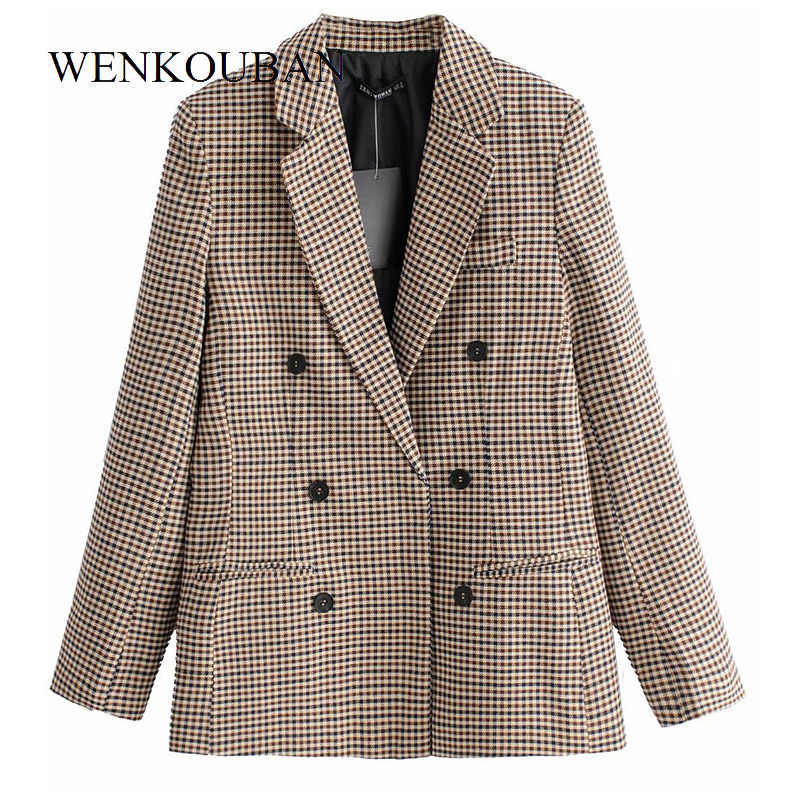 Moda Plaid mujeres Blazers Slim Oficina señora Blazer Mujer manga larga traje chaqueta Casual doble Breasted abrigo Bleizer Mujer