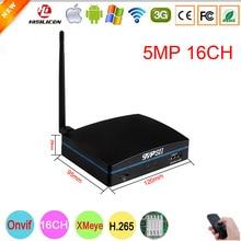 Plastik siyah Hi3536D XMeye H.265 + SD kart mobil HDD 5mp 16CH 16 kanal Onvif Mini CCTV WIFI NVR DVR