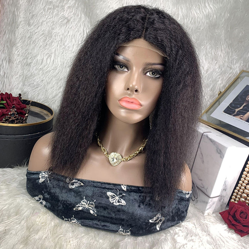 TOOCCI Lace Front Wig Perruque cheveux Humain BLISS Kinky Straight Wigs For Black Women Glueless Half Wig Yaki Brazilian