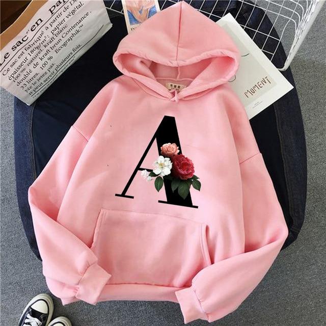 Hoodies Women Hooded 26 English Alphabet Print Leisure Oversize Pullovers Korean Style Kawaii Women Loose Streetwear Sweatshirts